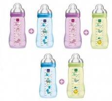 MAM Easy Active Baby Feeding Bottle 330ml - Double Pack x 6 Mix